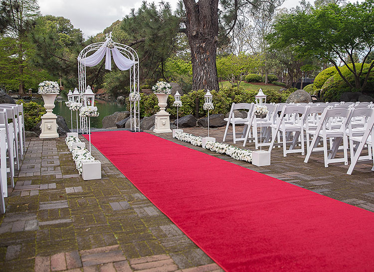 Japanese Garden with a Red Wedding Aisle